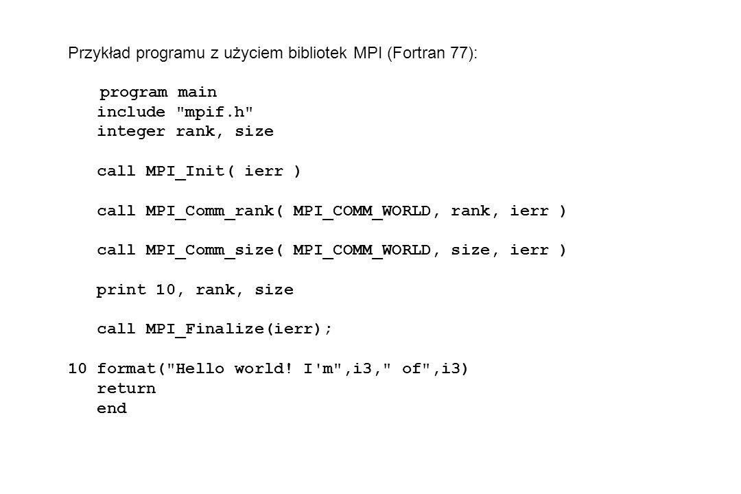Przykład programu z użyciem bibliotek MPI (Fortran 77):