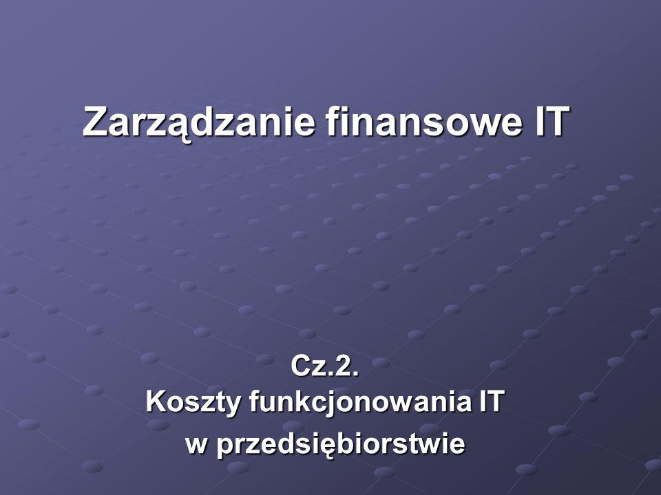 Cz.2. Koszty funkcjonowania IT w przedsiębiorstwie
