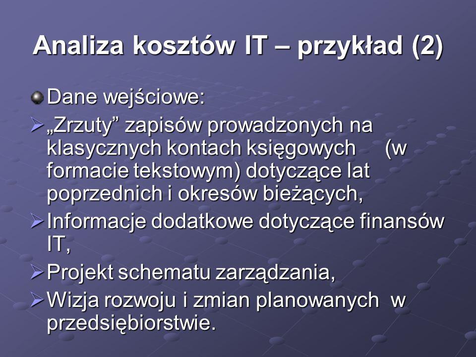 Analiza kosztów IT – przykład (2)