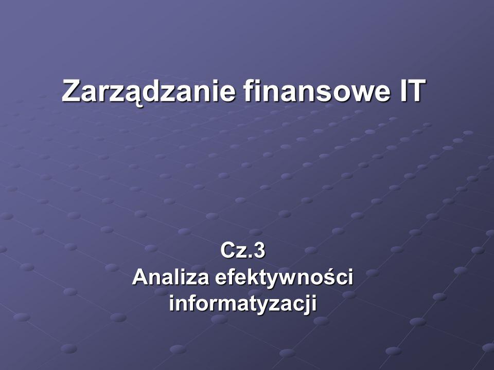 Cz.3 Analiza efektywności informatyzacji