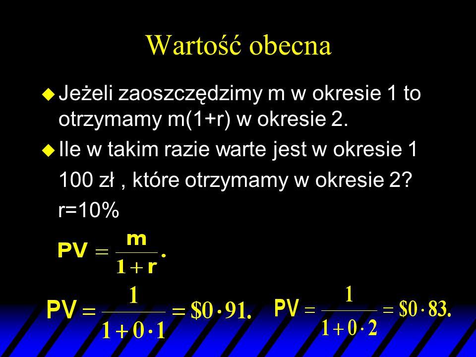 Wartość obecna Jeżeli zaoszczędzimy m w okresie 1 to otrzymamy m(1+r) w okresie 2. Ile w takim razie warte jest w okresie 1.