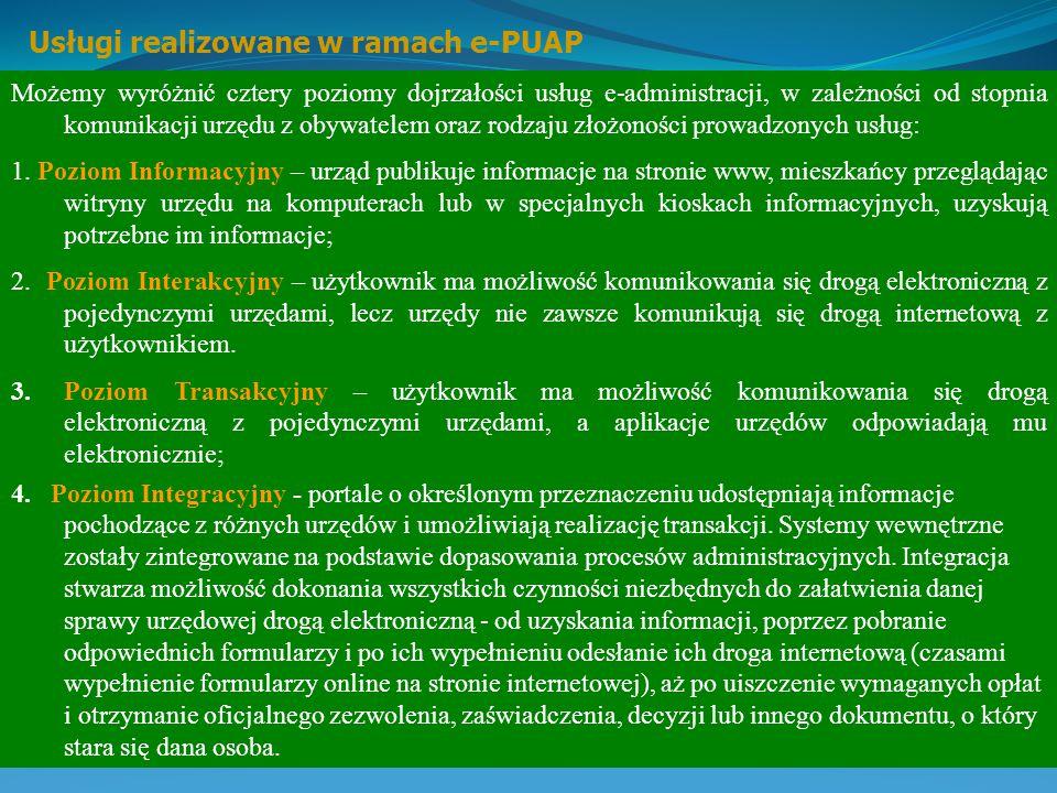 Usługi realizowane w ramach e-PUAP