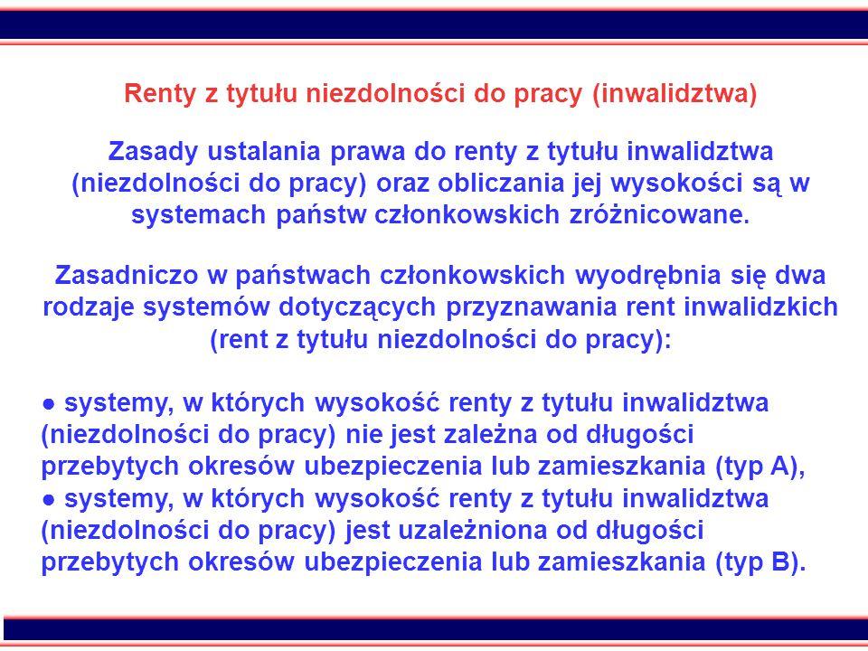 Renty z tytułu niezdolności do pracy (inwalidztwa)