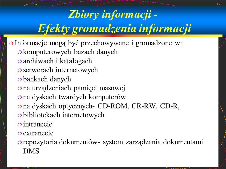 Zbiory informacji - Efekty gromadzenia informacji