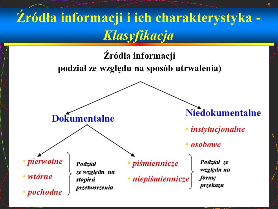 Źródła informacji i ich charakterystyka - Klasyfikacja