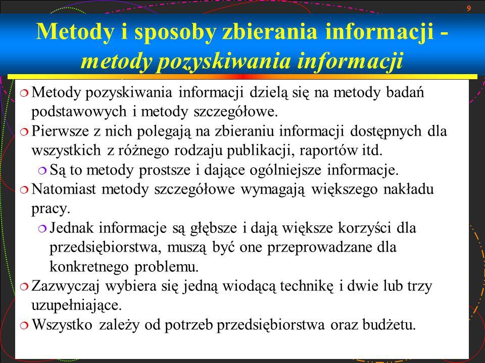 Metody i sposoby zbierania informacji - metody pozyskiwania informacji