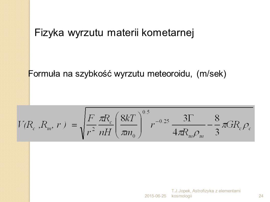 Fizyka wyrzutu materii kometarnej