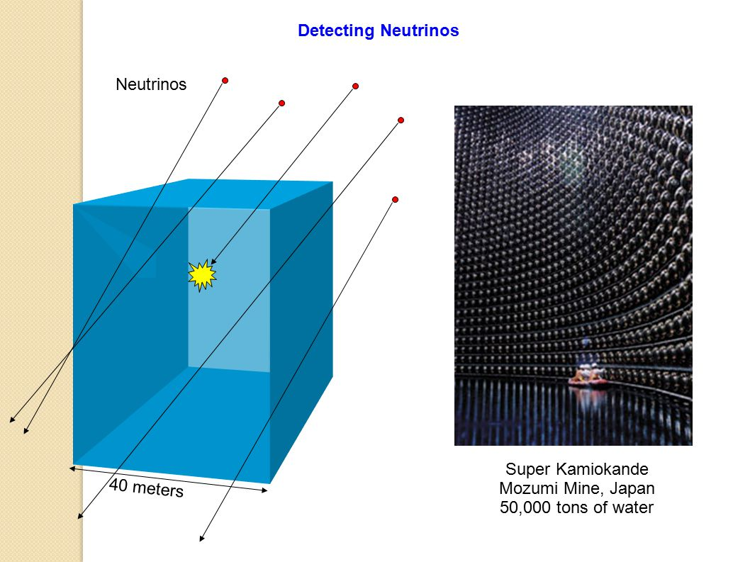 Detecting Neutrinos Neutrinos Super Kamiokande Mozumi Mine, Japan 50,000 tons of water 40 meters