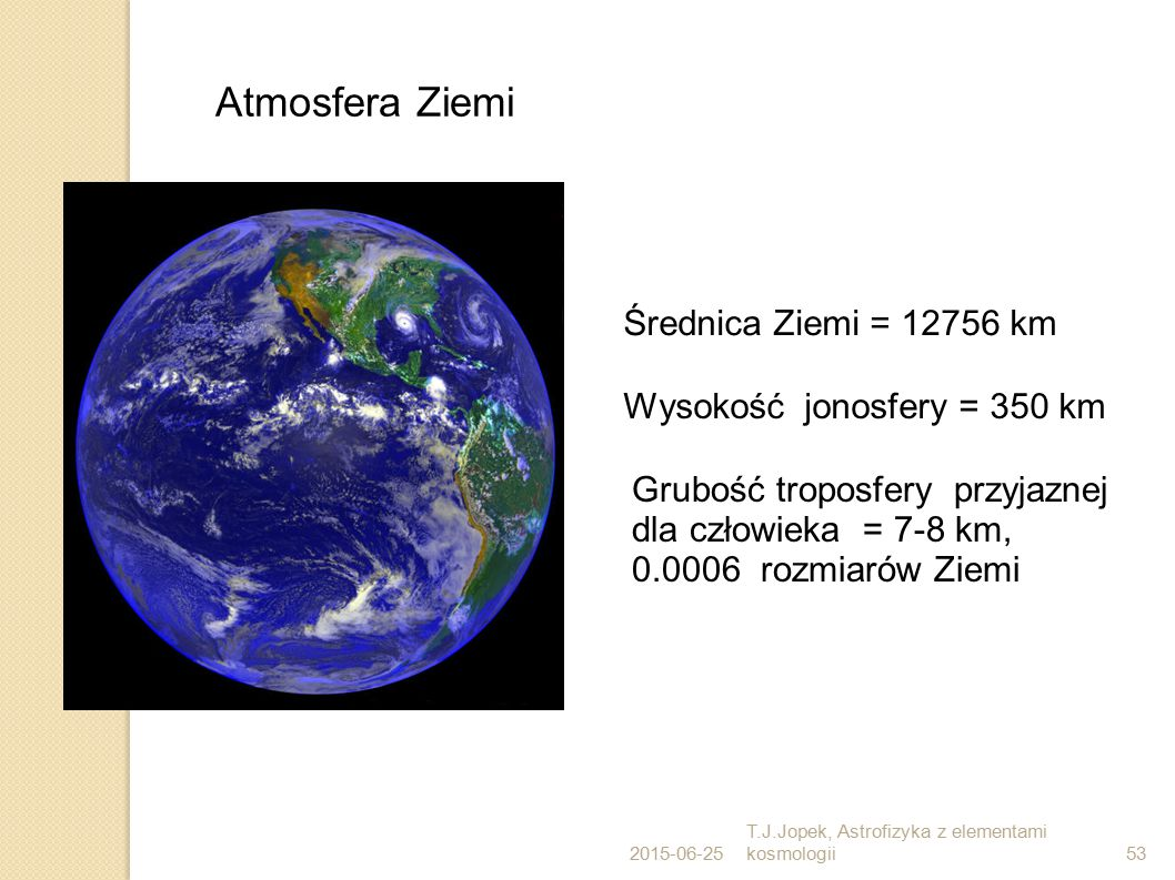 Atmosfera Ziemi Średnica Ziemi = 12756 km Wysokość jonosfery = 350 km