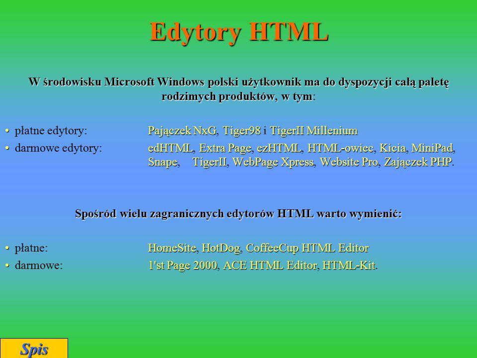 Spośród wielu zagranicznych edytorów HTML warto wymienić: