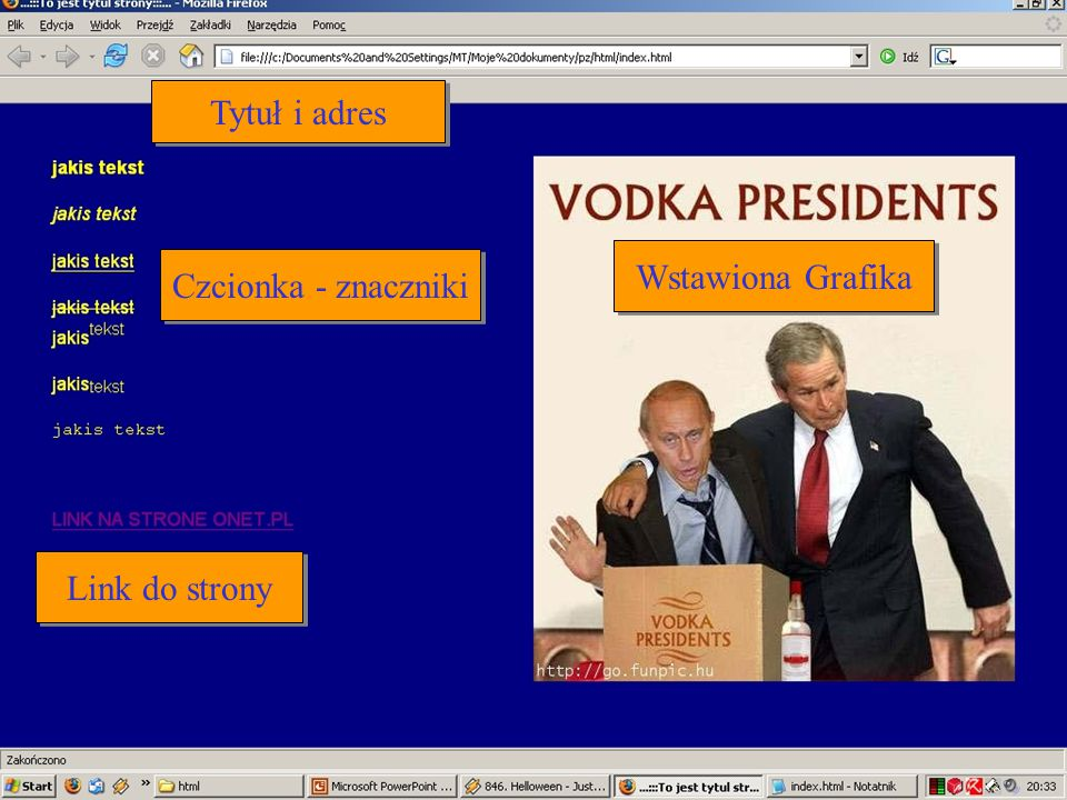 Tytuł i adres Wstawiona Grafika Czcionka - znaczniki Link do strony
