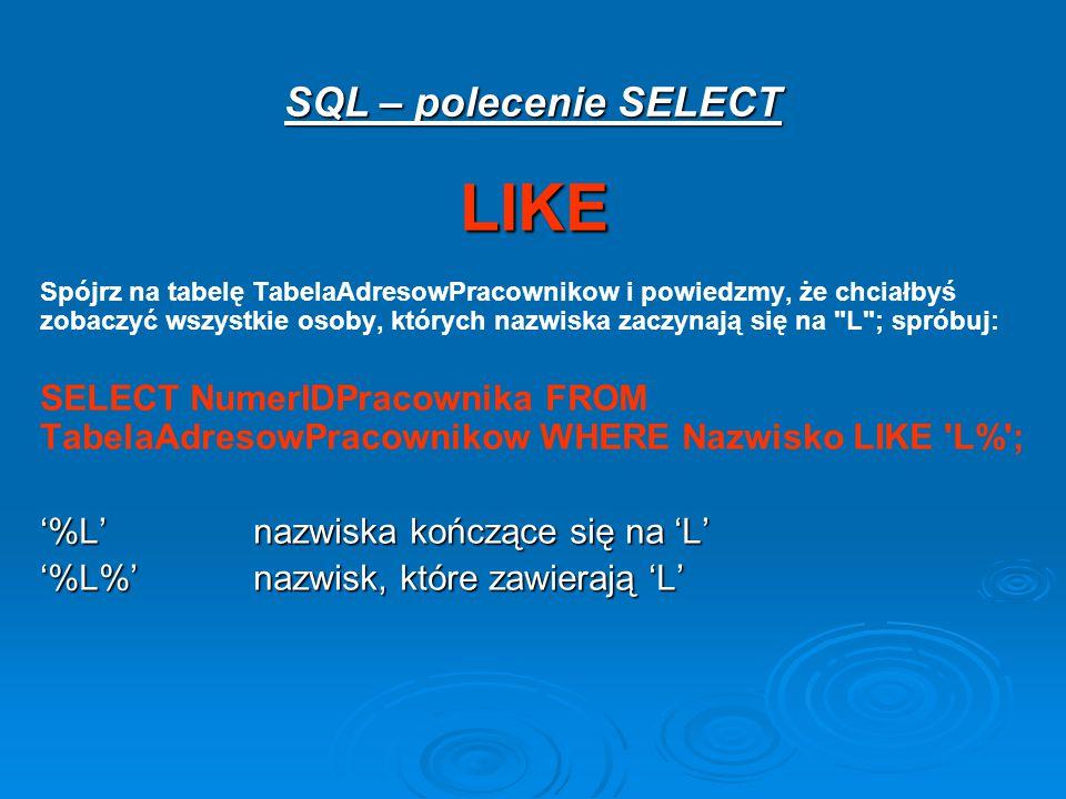 LIKE SQL – polecenie SELECT