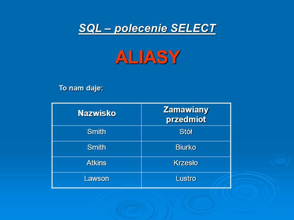 ALIASY SQL – polecenie SELECT Zamawiany przedmiot Nazwisko