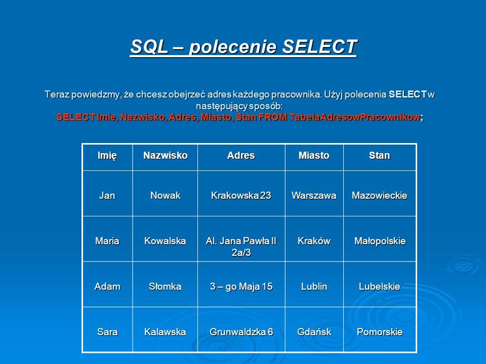 SQL – polecenie SELECT
