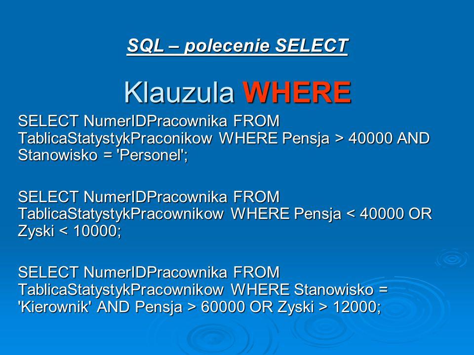 Klauzula WHERE SQL – polecenie SELECT