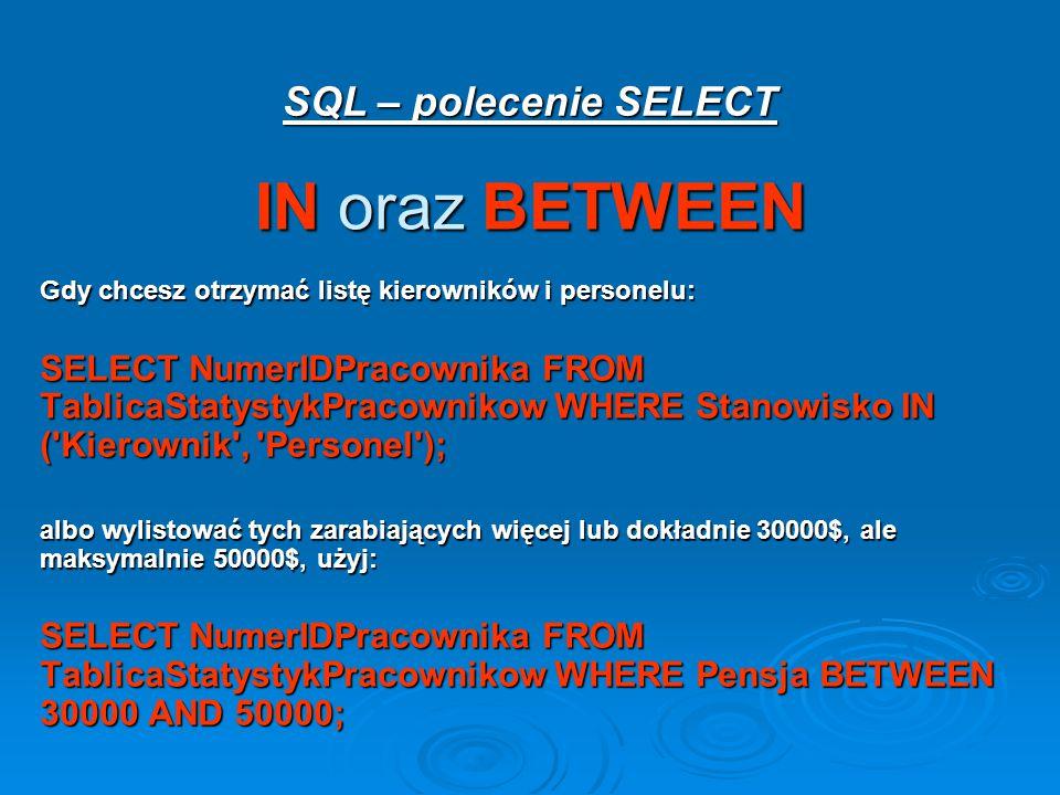 IN oraz BETWEEN SQL – polecenie SELECT