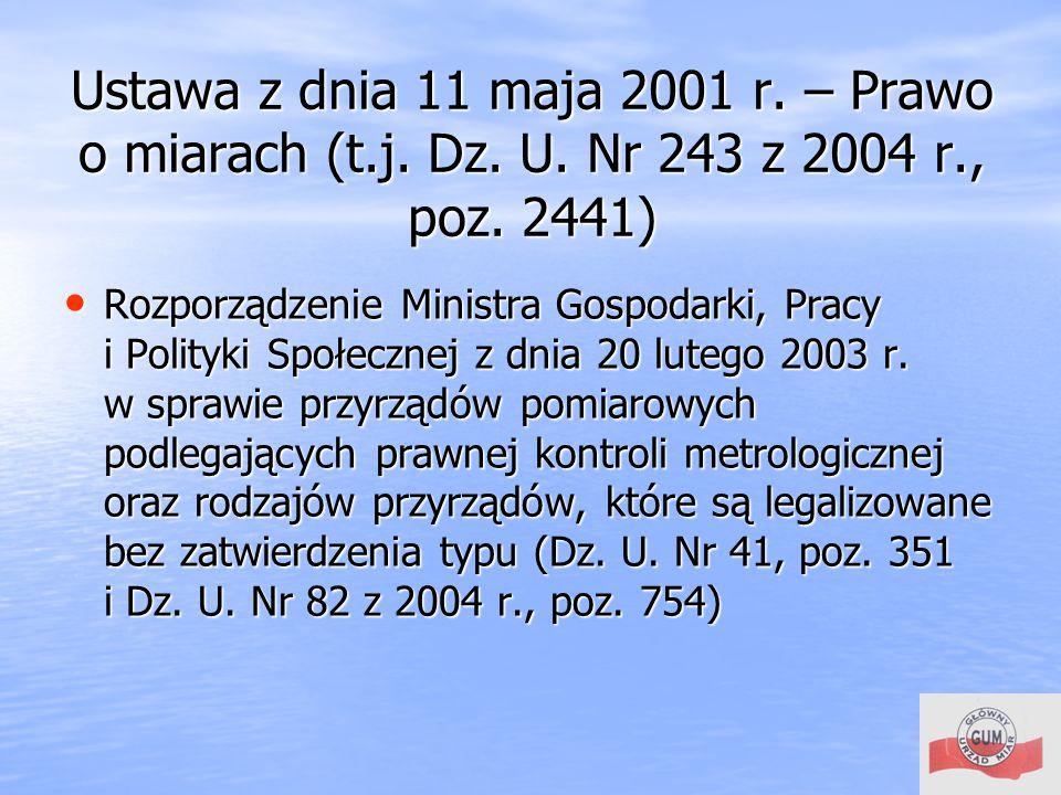 Ustawa z dnia 11 maja 2001 r. – Prawo o miarach (t. j. Dz. U
