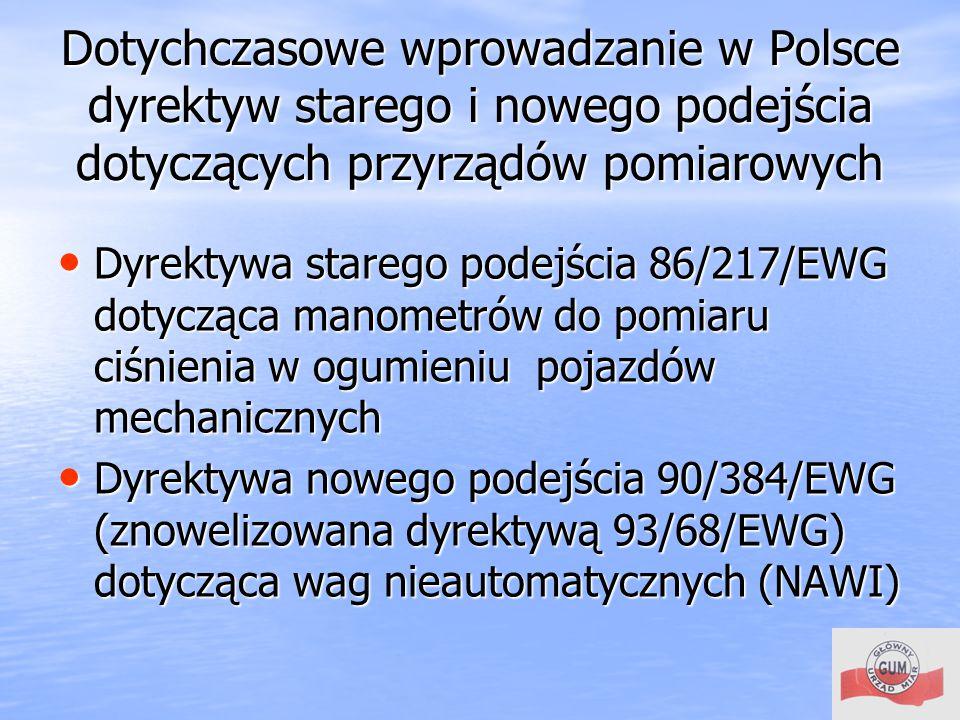 Dotychczasowe wprowadzanie w Polsce dyrektyw starego i nowego podejścia dotyczących przyrządów pomiarowych