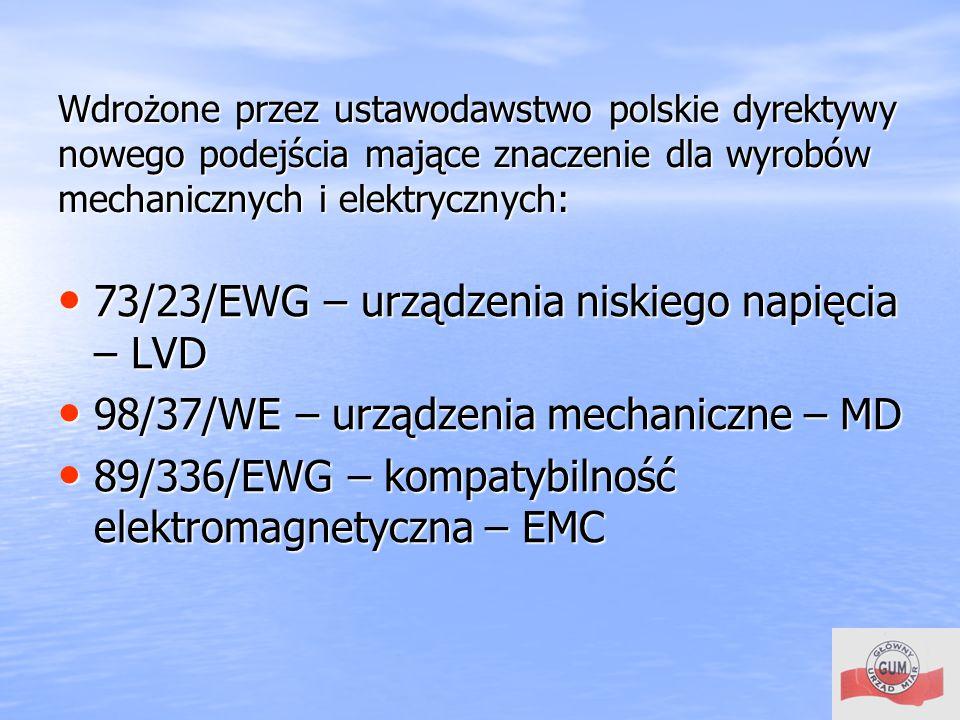 73/23/EWG – urządzenia niskiego napięcia – LVD