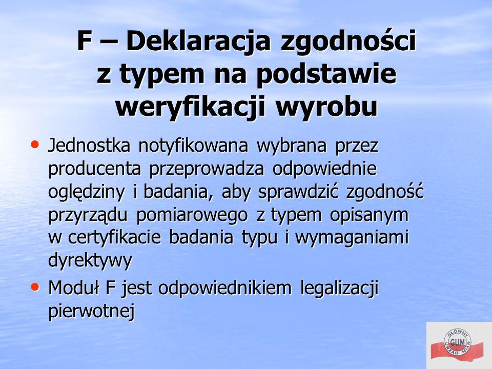 F – Deklaracja zgodności z typem na podstawie weryfikacji wyrobu