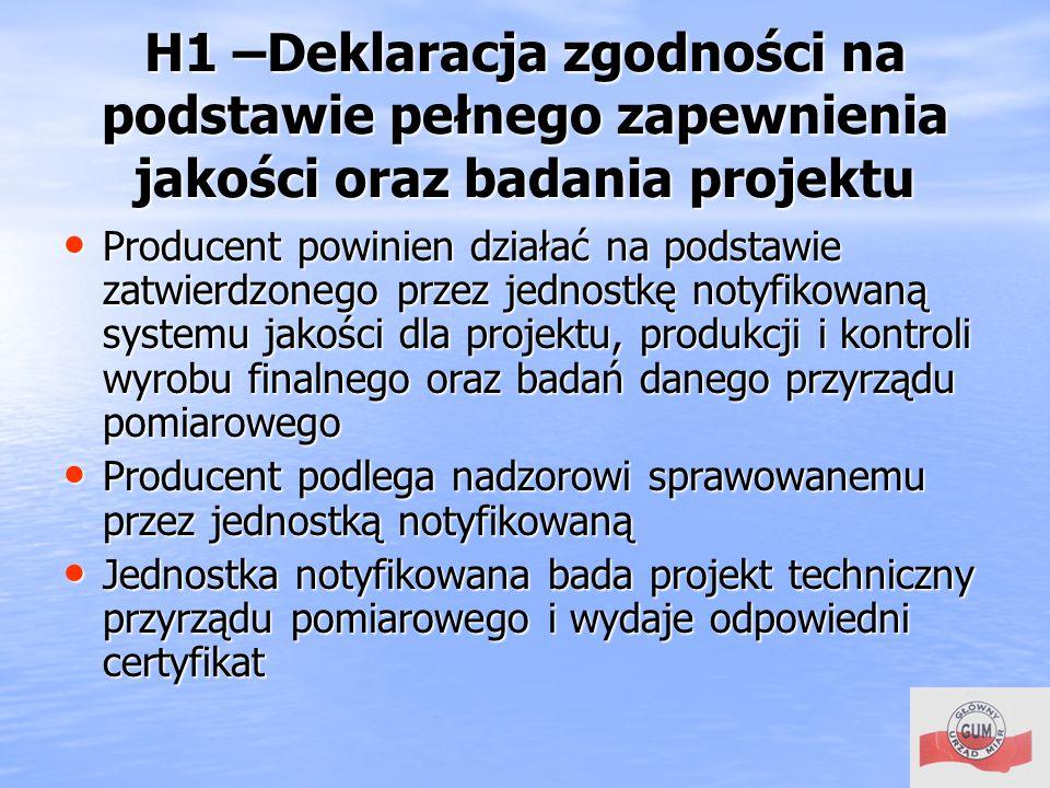 H1 –Deklaracja zgodności na podstawie pełnego zapewnienia jakości oraz badania projektu