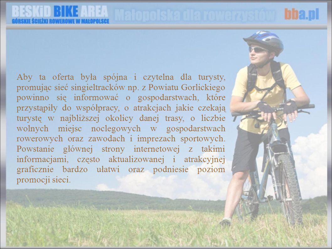 Aby ta oferta była spójna i czytelna dla turysty, promując sieć singieltracków np. z Powiatu Gorlickiego powinno się informować o gospodarstwach, które przystąpiły do współpracy, o atrakcjach jakie czekają turystę w najbliższej okolicy danej trasy, o liczbie wolnych miejsc noclegowych w gospodarstwach rowerowych oraz zawodach i imprezach sportowych. Powstanie głównej strony internetowej z takimi informacjami, często aktualizowanej i atrakcyjnej graficznie bardzo ułatwi oraz podniesie poziom promocji sieci.