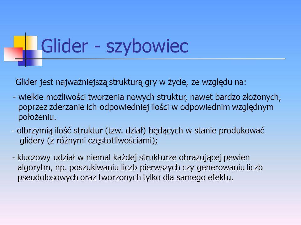 Glider - szybowiec Glider jest najważniejszą strukturą gry w życie, ze względu na: