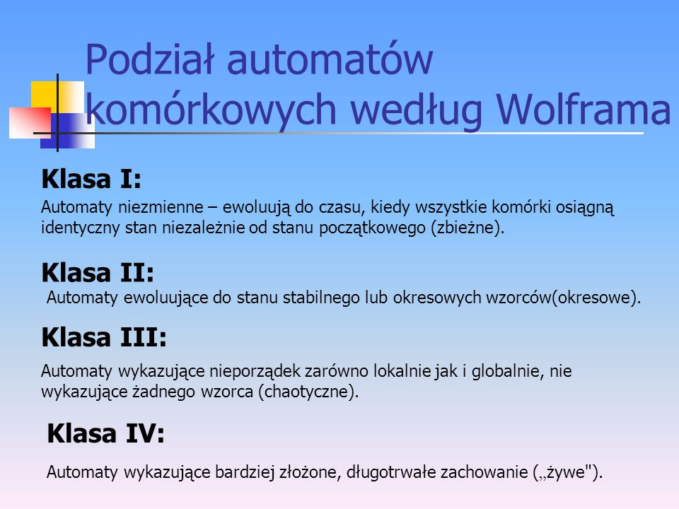 Podział automatów komórkowych według Wolframa
