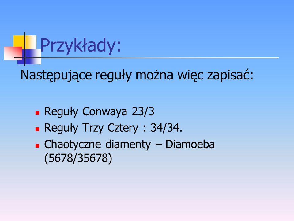 Przykłady: Następujące reguły można więc zapisać: Reguły Conwaya 23/3