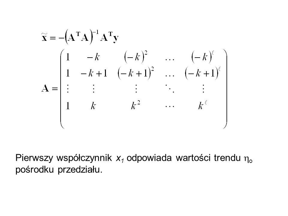 Pierwszy współczynnik x1 odpowiada wartości trendu ho pośrodku przedziału.