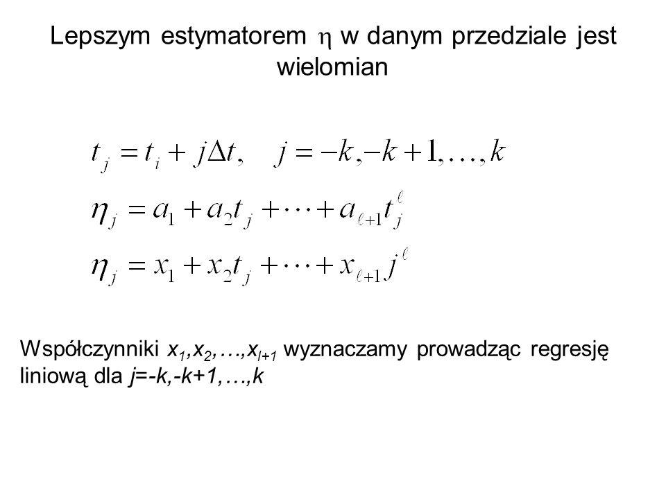 Lepszym estymatorem h w danym przedziale jest wielomian