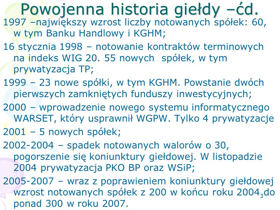 Powojenna historia giełdy –ćd.
