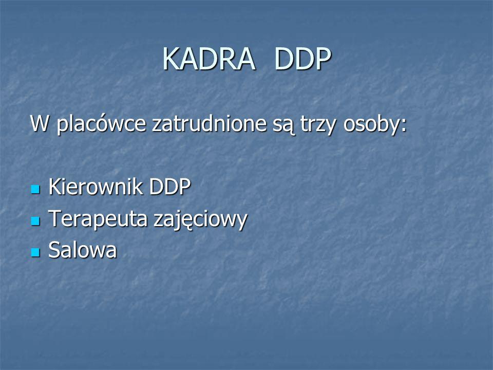 KADRA DDP W placówce zatrudnione są trzy osoby: Kierownik DDP