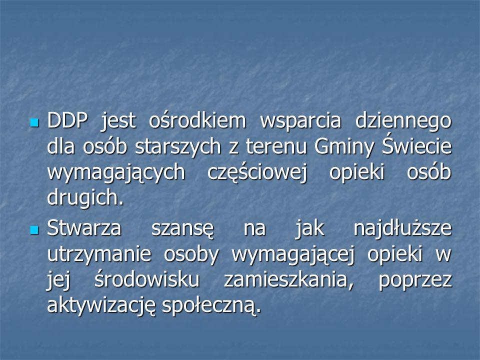 DDP jest ośrodkiem wsparcia dziennego dla osób starszych z terenu Gminy Świecie wymagających częściowej opieki osób drugich.