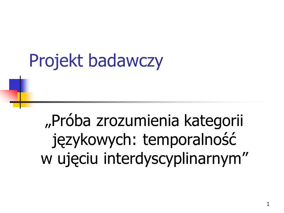 """Projekt badawczy """"Próba zrozumienia kategorii językowych: temporalność w ujęciu interdyscyplinarnym"""