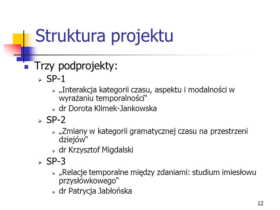 Struktura projektu Trzy podprojekty: SP-1 SP-2 SP-3