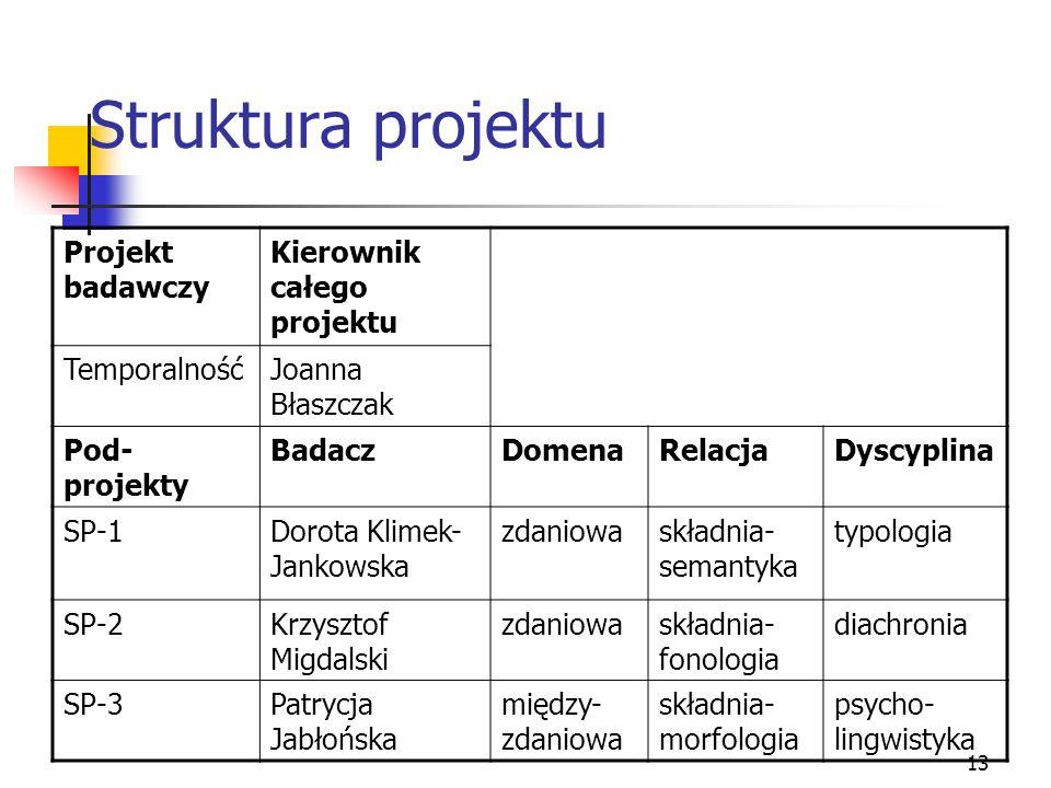 Struktura projektu Projekt badawczy Kierownik całego projektu