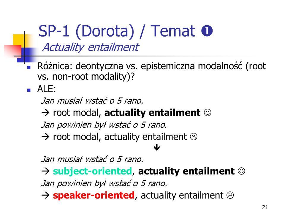 SP-1 (Dorota) / Temat  Actuality entailment