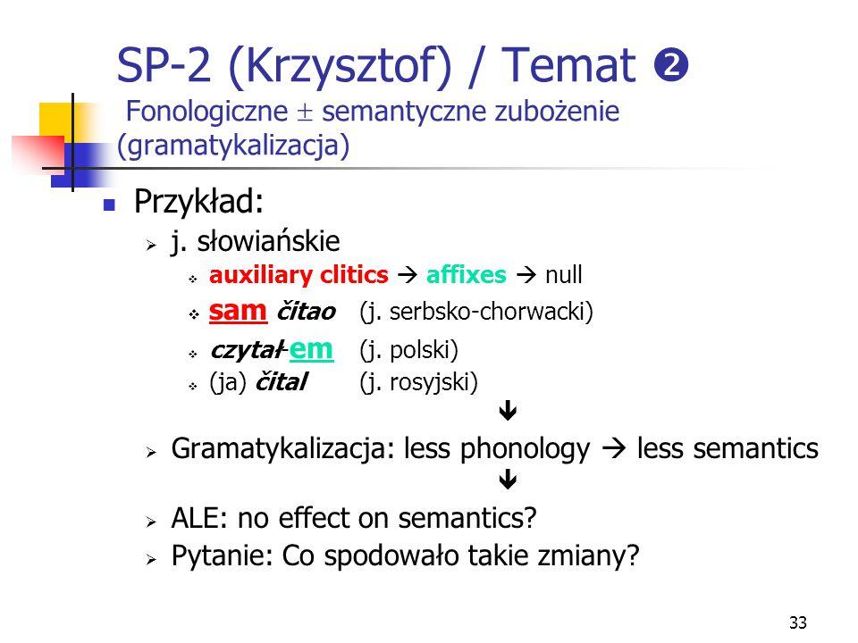 SP-2 (Krzysztof) / Temat  Fonologiczne  semantyczne zubożenie (gramatykalizacja)