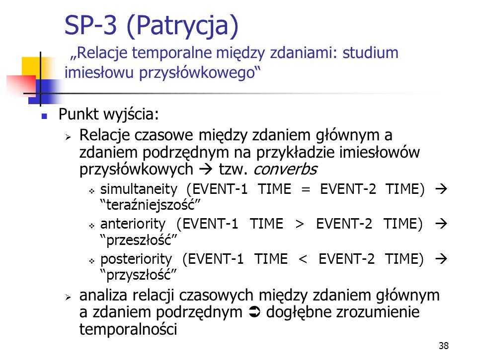 """SP-3 (Patrycja) """"Relacje temporalne między zdaniami: studium imiesłowu przysłówkowego"""