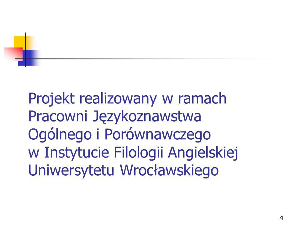 Projekt realizowany w ramach Pracowni Językoznawstwa Ogólnego i Porównawczego w Instytucie Filologii Angielskiej Uniwersytetu Wrocławskiego