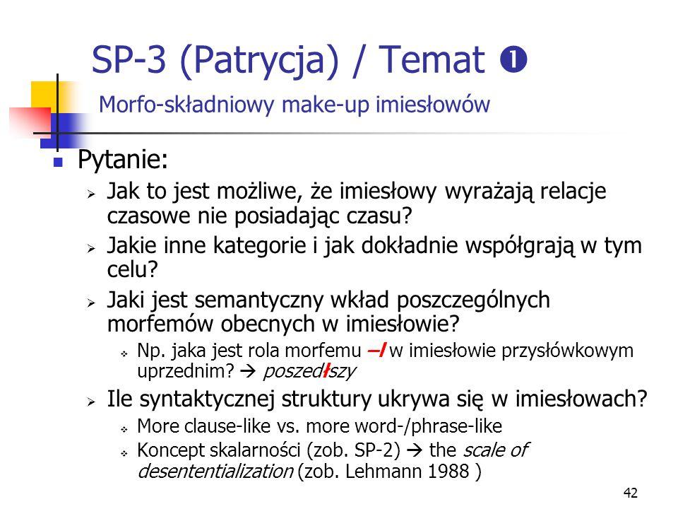 SP-3 (Patrycja) / Temat  Morfo-składniowy make-up imiesłowów