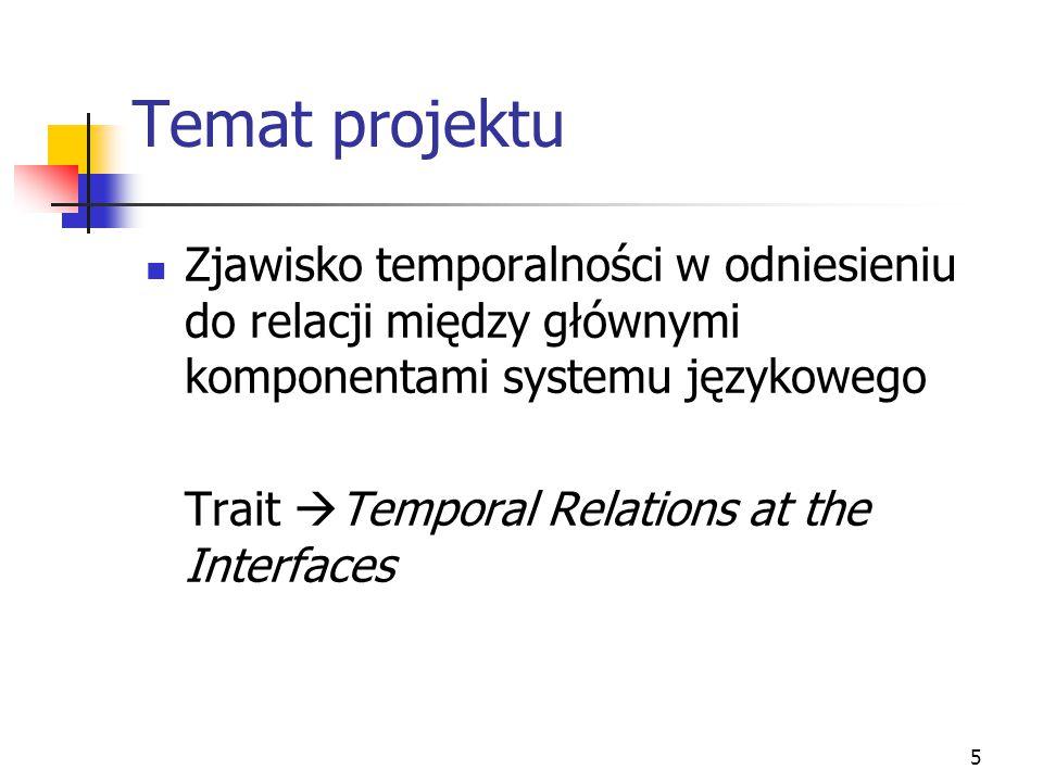 Temat projektu Zjawisko temporalności w odniesieniu do relacji między głównymi komponentami systemu językowego.