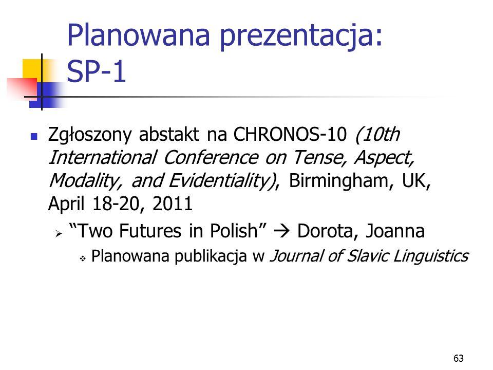 Planowana prezentacja: SP-1