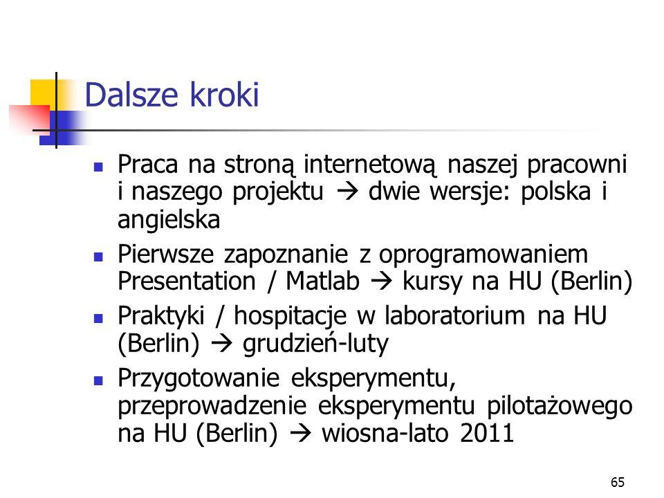 Dalsze kroki Praca na stroną internetową naszej pracowni i naszego projektu  dwie wersje: polska i angielska.
