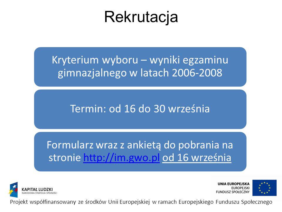 Kryterium wyboru – wyniki egzaminu gimnazjalnego w latach 2006-2008