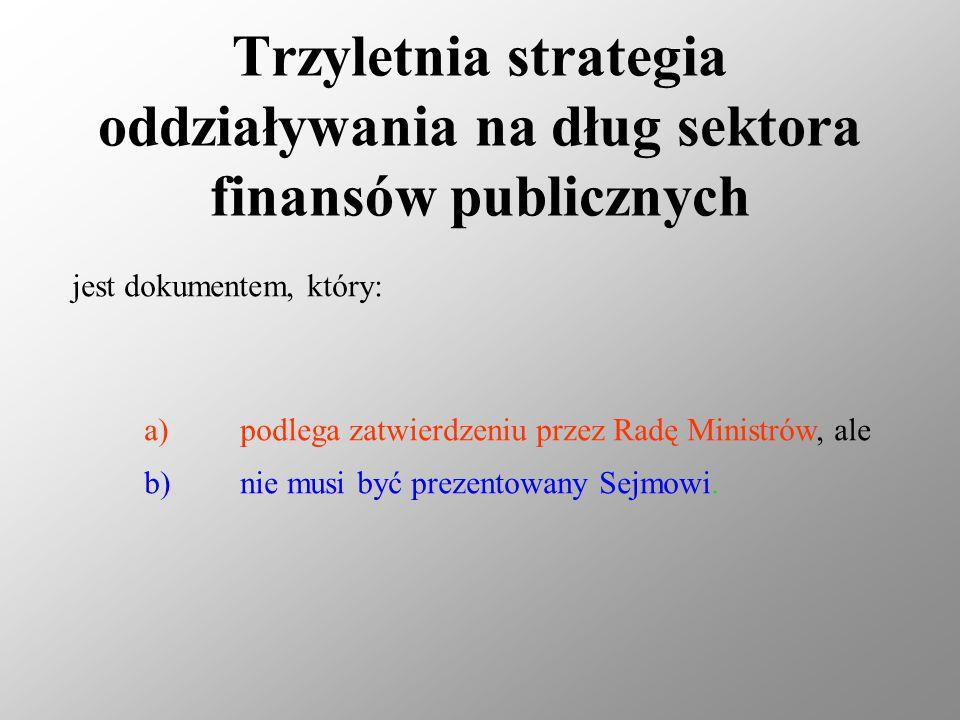 Trzyletnia strategia oddziaływania na dług sektora finansów publicznych