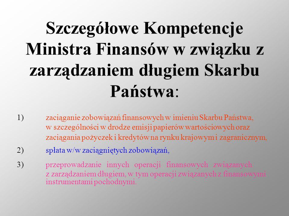 Szczegółowe Kompetencje Ministra Finansów w związku z zarządzaniem długiem Skarbu Państwa: