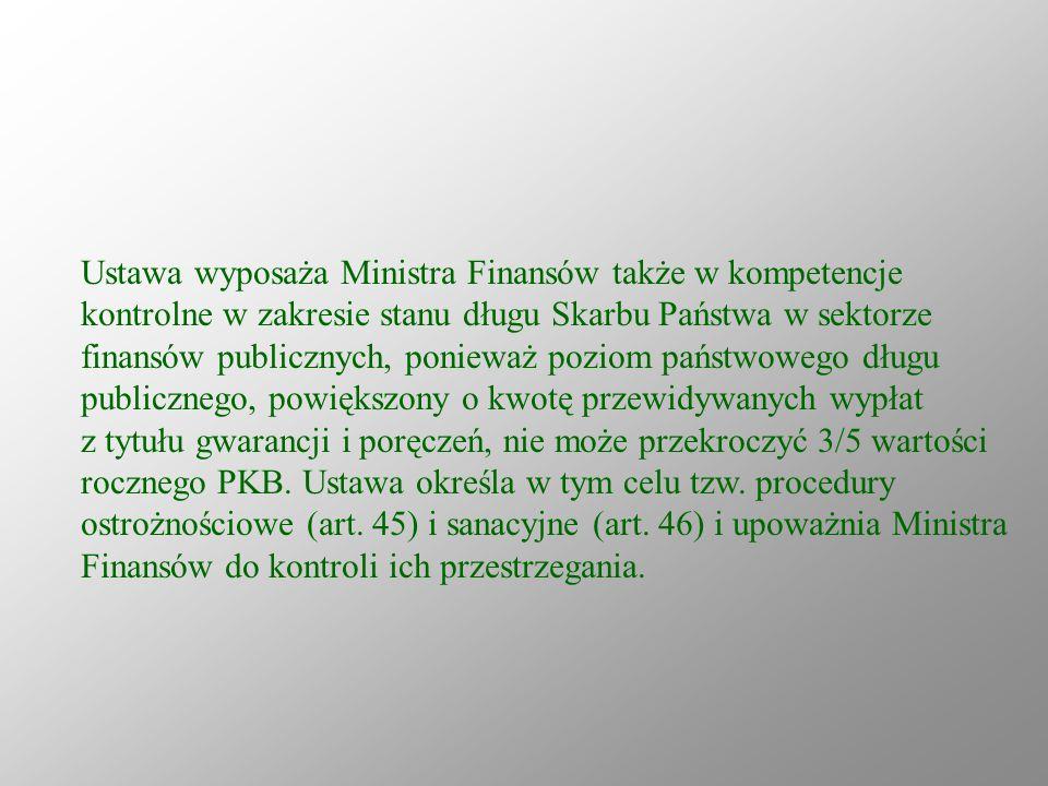 Ustawa wyposaża Ministra Finansów także w kompetencje