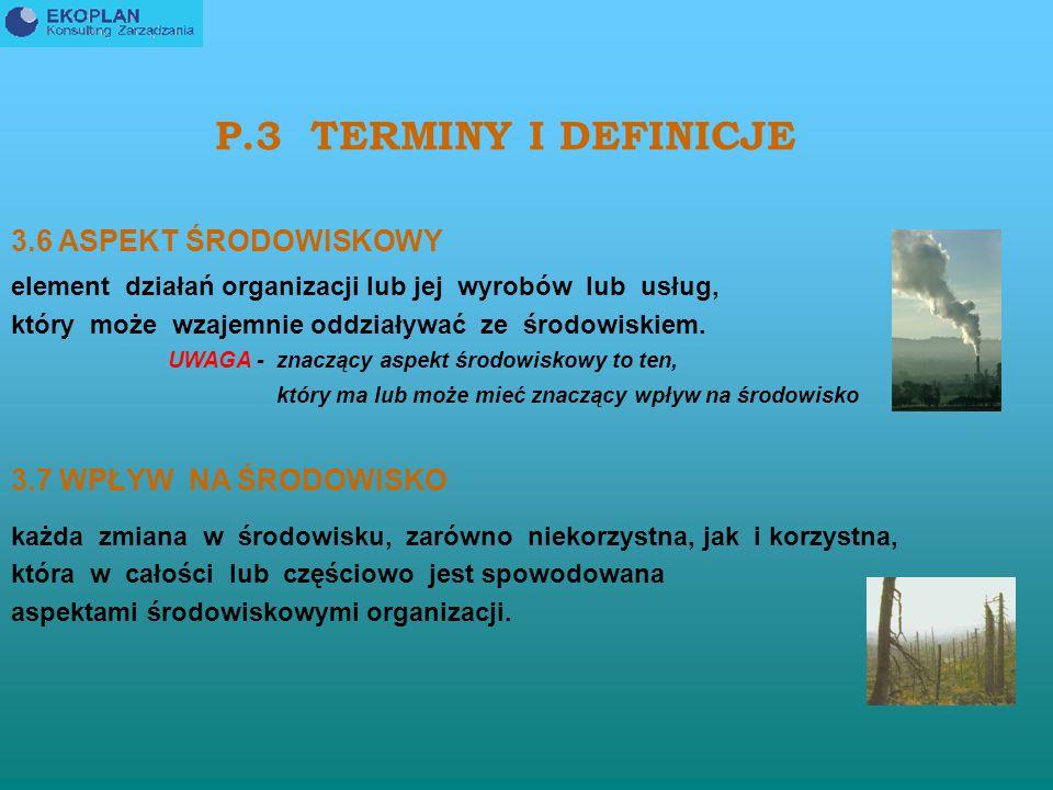 P.3 TERMINY I DEFINICJE 3.6 ASPEKT ŚRODOWISKOWY